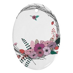 Flowers Twig Corolla Wreath Lease Oval Ornament (two Sides) by Nexatart