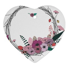 Flowers Twig Corolla Wreath Lease Heart Ornament (two Sides)