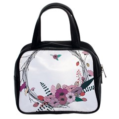 Flowers Twig Corolla Wreath Lease Classic Handbags (2 Sides)