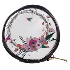 Flowers Twig Corolla Wreath Lease Mini Makeup Bags by Nexatart