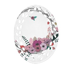 Flowers Twig Corolla Wreath Lease Oval Filigree Ornament (two Sides)