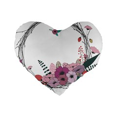 Flowers Twig Corolla Wreath Lease Standard 16  Premium Heart Shape Cushions by Nexatart