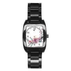 Flowers Twig Corolla Wreath Lease Stainless Steel Barrel Watch