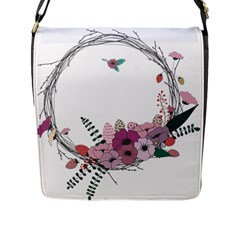 Flowers Twig Corolla Wreath Lease Flap Messenger Bag (l)  by Nexatart