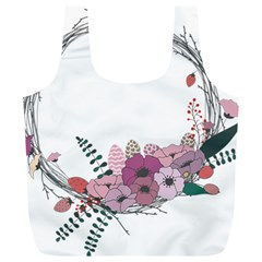Flowers Twig Corolla Wreath Lease Full Print Recycle Bags (l)