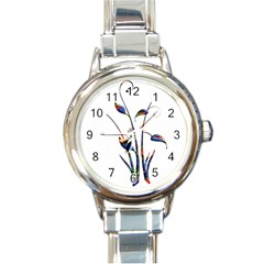 Flora Abstract Scrolls Batik Design Round Italian Charm Watch by Nexatart