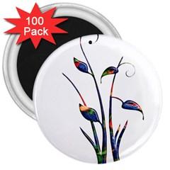 Flora Abstract Scrolls Batik Design 3  Magnets (100 Pack) by Nexatart