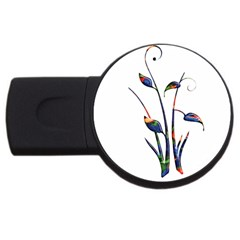 Flora Abstract Scrolls Batik Design Usb Flash Drive Round (2 Gb)