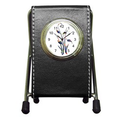 Flora Abstract Scrolls Batik Design Pen Holder Desk Clocks by Nexatart