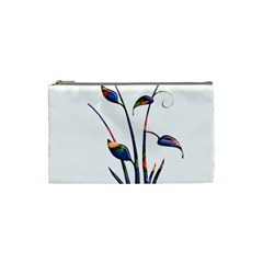 Flora Abstract Scrolls Batik Design Cosmetic Bag (small)  by Nexatart