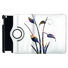 Flora Abstract Scrolls Batik Design Apple Ipad 3/4 Flip 360 Case by Nexatart