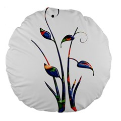 Flora Abstract Scrolls Batik Design Large 18  Premium Round Cushions by Nexatart