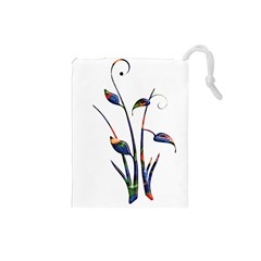 Flora Abstract Scrolls Batik Design Drawstring Pouches (small)