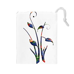 Flora Abstract Scrolls Batik Design Drawstring Pouches (large)