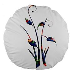 Flora Abstract Scrolls Batik Design Large 18  Premium Flano Round Cushions by Nexatart