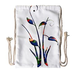 Flora Abstract Scrolls Batik Design Drawstring Bag (large) by Nexatart