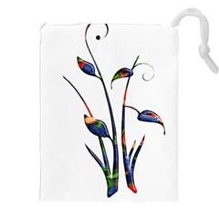 Flora Abstract Scrolls Batik Design Drawstring Pouches (xxl)