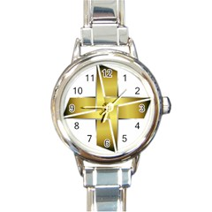 Logo Cross Golden Metal Glossy Round Italian Charm Watch