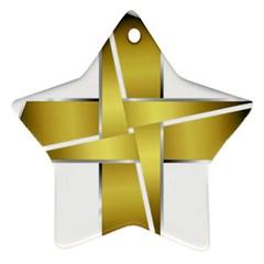 Logo Cross Golden Metal Glossy Ornament (star)