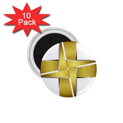 Logo Cross Golden Metal Glossy 1 75  Magnets (10 Pack)  by Nexatart