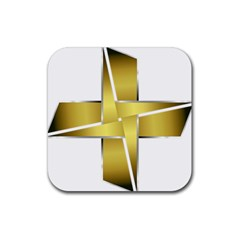 Logo Cross Golden Metal Glossy Rubber Square Coaster (4 Pack)  by Nexatart