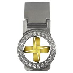 Logo Cross Golden Metal Glossy Money Clips (cz)