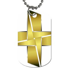 Logo Cross Golden Metal Glossy Dog Tag (two Sides) by Nexatart