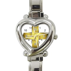 Logo Cross Golden Metal Glossy Heart Italian Charm Watch