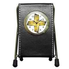 Logo Cross Golden Metal Glossy Pen Holder Desk Clocks by Nexatart