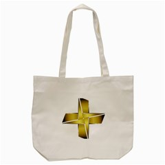 Logo Cross Golden Metal Glossy Tote Bag (cream)
