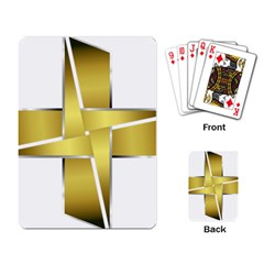 Logo Cross Golden Metal Glossy Playing Card