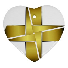Logo Cross Golden Metal Glossy Heart Ornament (two Sides) by Nexatart
