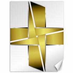Logo Cross Golden Metal Glossy Canvas 36  X 48