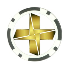 Logo Cross Golden Metal Glossy Poker Chip Card Guard