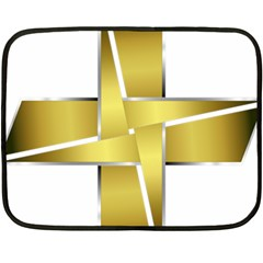 Logo Cross Golden Metal Glossy Fleece Blanket (mini) by Nexatart