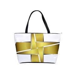 Logo Cross Golden Metal Glossy Shoulder Handbags by Nexatart