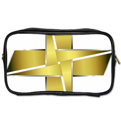 Logo Cross Golden Metal Glossy Toiletries Bags 2 Side