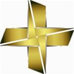 Logo Cross Golden Metal Glossy Storage Stool 12   Right
