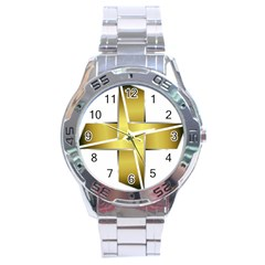 Logo Cross Golden Metal Glossy Stainless Steel Analogue Watch by Nexatart