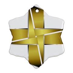 Logo Cross Golden Metal Glossy Snowflake Ornament (two Sides) by Nexatart