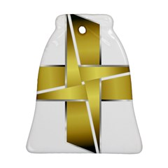 Logo Cross Golden Metal Glossy Bell Ornament (two Sides) by Nexatart