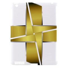 Logo Cross Golden Metal Glossy Apple Ipad 3/4 Hardshell Case (compatible With Smart Cover) by Nexatart