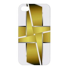 Logo Cross Golden Metal Glossy Apple Iphone 4/4s Premium Hardshell Case by Nexatart