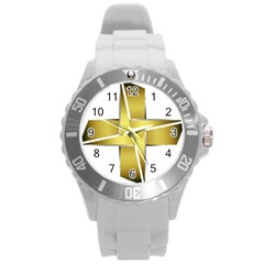 Logo Cross Golden Metal Glossy Round Plastic Sport Watch (l) by Nexatart
