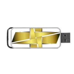 Logo Cross Golden Metal Glossy Portable Usb Flash (one Side)