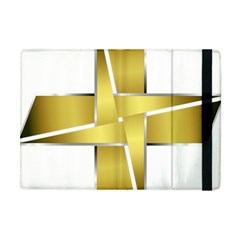 Logo Cross Golden Metal Glossy Apple Ipad Mini Flip Case