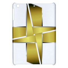 Logo Cross Golden Metal Glossy Apple Ipad Mini Hardshell Case by Nexatart