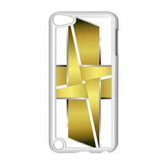 Logo Cross Golden Metal Glossy Apple Ipod Touch 5 Case (white) by Nexatart