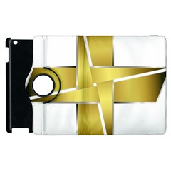 Logo Cross Golden Metal Glossy Apple Ipad 2 Flip 360 Case by Nexatart
