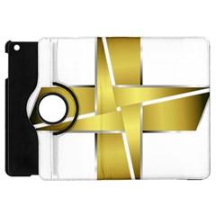Logo Cross Golden Metal Glossy Apple Ipad Mini Flip 360 Case
